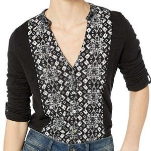 Lucky Brand XL Black Abstract Button Down T-Shirt